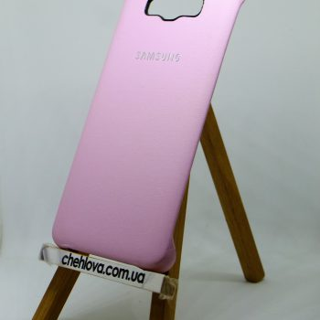 Чехол для Samsung J7 (2016) J710 Накладка с уголками кожаная розовая
