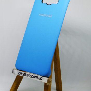 Чехол для Samsung J7 (2016) J710 Накладка с уголками кожаная голубая