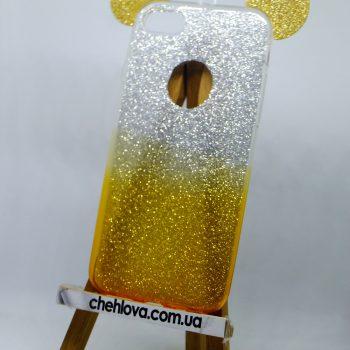 Чехол для IPhone 7  перламутровый с ушками золото (силикон)