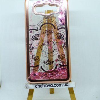 Чехол для Samsung J3/J300 AQUA с плавающими блестками розовый цветок