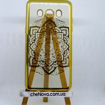 Чехол для Samsung J710 AQUA цветок с золотой окантовкой