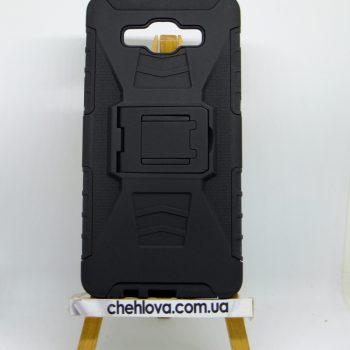 Чехол для Силикон Samsung J510 черный прорезиненный с подставкой +пластиковая накладка 2в1