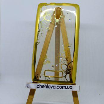 Чехол для Lenovo A2010 цеток с золотой окантовкой