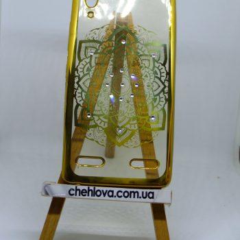 Чехол для Lenovo A6000/K6/А6010 цветок с золотой окантовкой