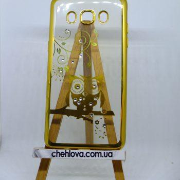 Чехол для Samsung J510 сова с золотой окантовкой
