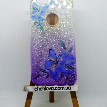 """Чехол для  iPhone 7  Mask Collection """"Бабочка синяя в серебре"""""""