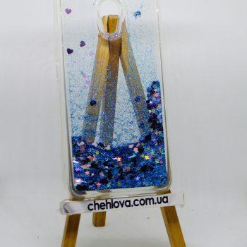 Чехол для Meizu M5s AQUA голубые блестки и розовые сердечки (силикон)
