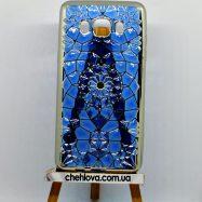"""Чехол силиконовый """"Fashion"""" на Samsung J7 (2016) J710  синий  и серебрянная окантовка"""