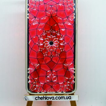 """Чехол силиконовый """"Fashion"""" на IPhone 6/6s  красный и серебрянная окантовка"""