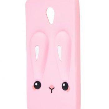 Чехол для Meizu M5s Кролик розовый плоский 3D