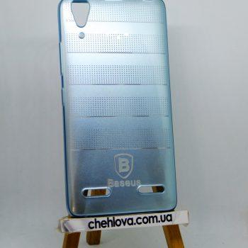 Чехол для Lenovo A6000 силиконовый Baseus полоска (Голубой)
