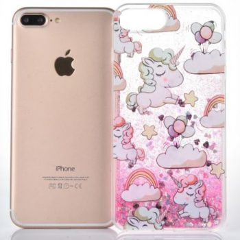 """Чехол для IPhone 6 """"Единорожки""""  розовые блестки"""