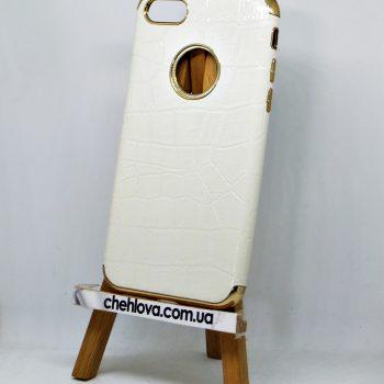 Чехол для iPhone 7 Lady белый силиконовый с вставкой для магнитного держателя