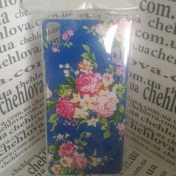 """Чехол для Lenovo K3  Note A7000 """"Цветы на синем"""" (пластик)"""