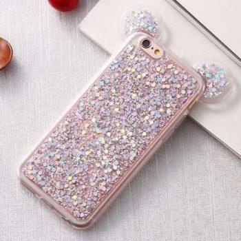 Чехол для IPhone 6/6s Микки с блестками розовый