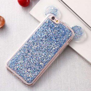 Чехол для IPhone 6/6s Микки с блестками голубой