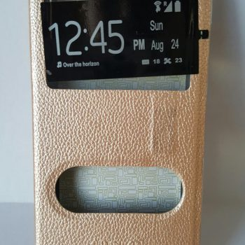 "Чехол для  Lenovo a2010 ""Premium Leather Case"" Two Windows Книжка золотая"