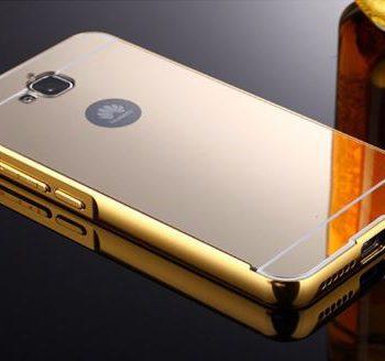Зеркальный чехол для Huawei Y6 Pro золотой