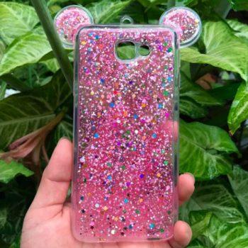"Чехол для Samsung J7 Prime ""Микки с блестками"" розовый (силикон)"