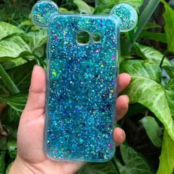 "Чехол для Samsung J7 Prime ""Микки с блестками"" голубой (силикон)"