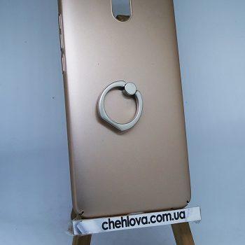 Чехол для Meizu M6 Note Пластик с кольцом золотой