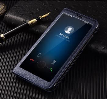 Чехол для Huawei Mate 10 Lite Книжка пластик+окошко темно-синяя