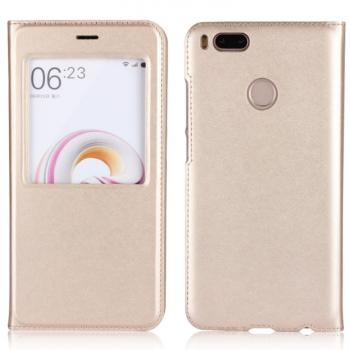 Чехол для Xiaomi Mi A1/Mi5X Книжка пластик+окошко золотая