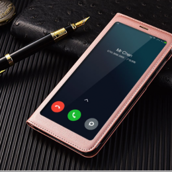 Чехол для Xiaomi Redmi 5 Plus Книжка пластик+окошко черная