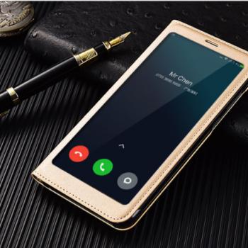 Чехол для Xiaomi Redmi 5 Plus Книжка пластик+окошко золотая