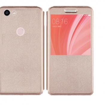 Чехол для Xiaomi Redmi Note 5A Prime Книжка пластик+окошко золотая