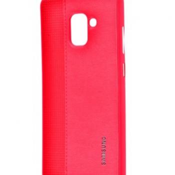 Чехол для Samsung Galaxy A8 2018 (A530F) Label Case Leather+Perfo красный