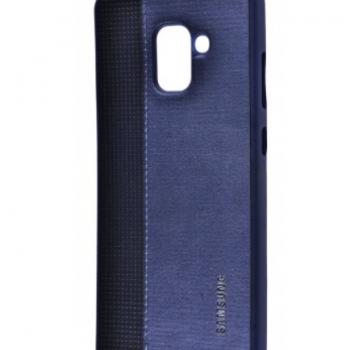 Чехол для Samsung Galaxy A8 2018 (A530F) Label Case Leather+Perfo темно-синий