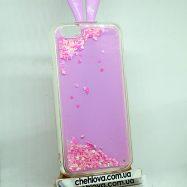 Чехол для IPhone 6/6s Розовый кролик  с блестками  3D